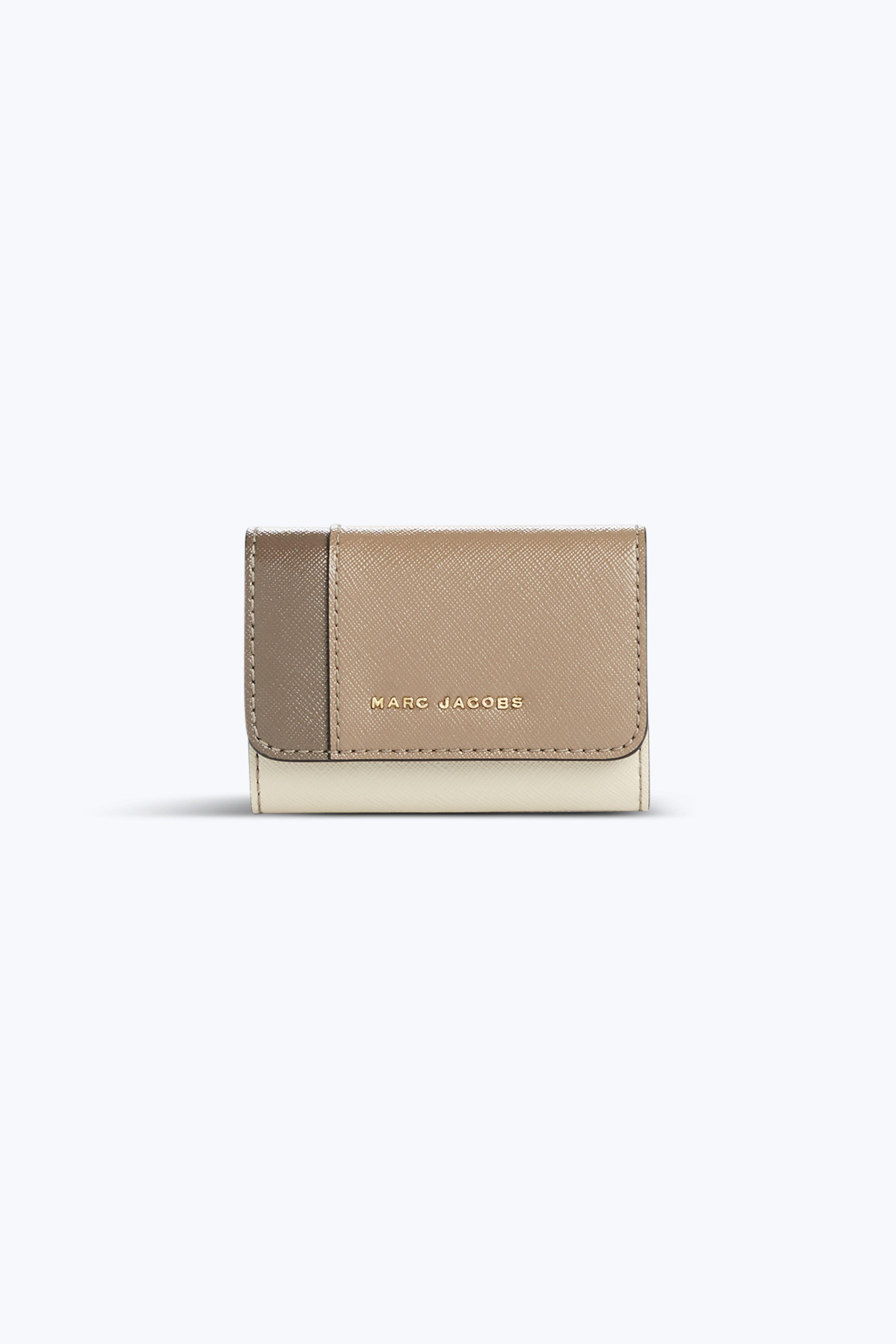 Marc Jacobs Saffiano Colorblocked Key Case In French Grey Multi