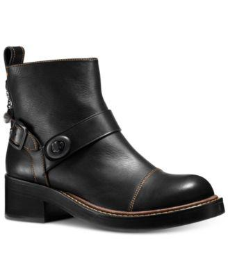 Coach Moto Bootie, Black Leather