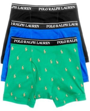 Polo Ralph Lauren Men's Underwear, Boxer Briefs 3 Pack In English Green Pony/polo Black/sapphire Star