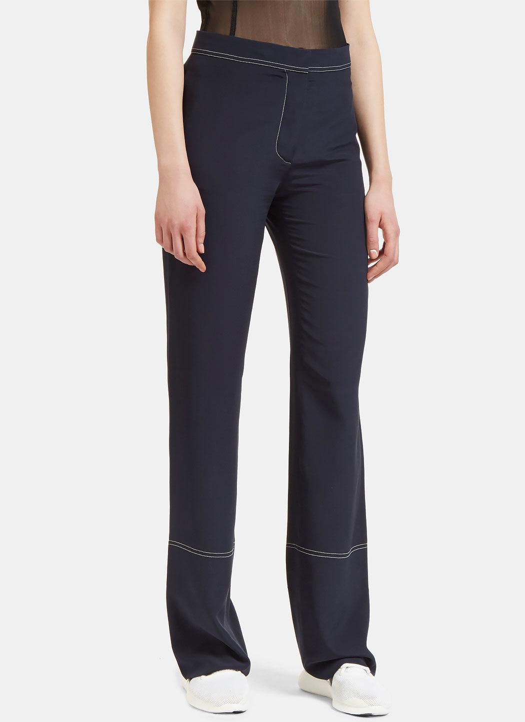Stella Mccartney Contrast Stitched Straight Leg Pants In Navy