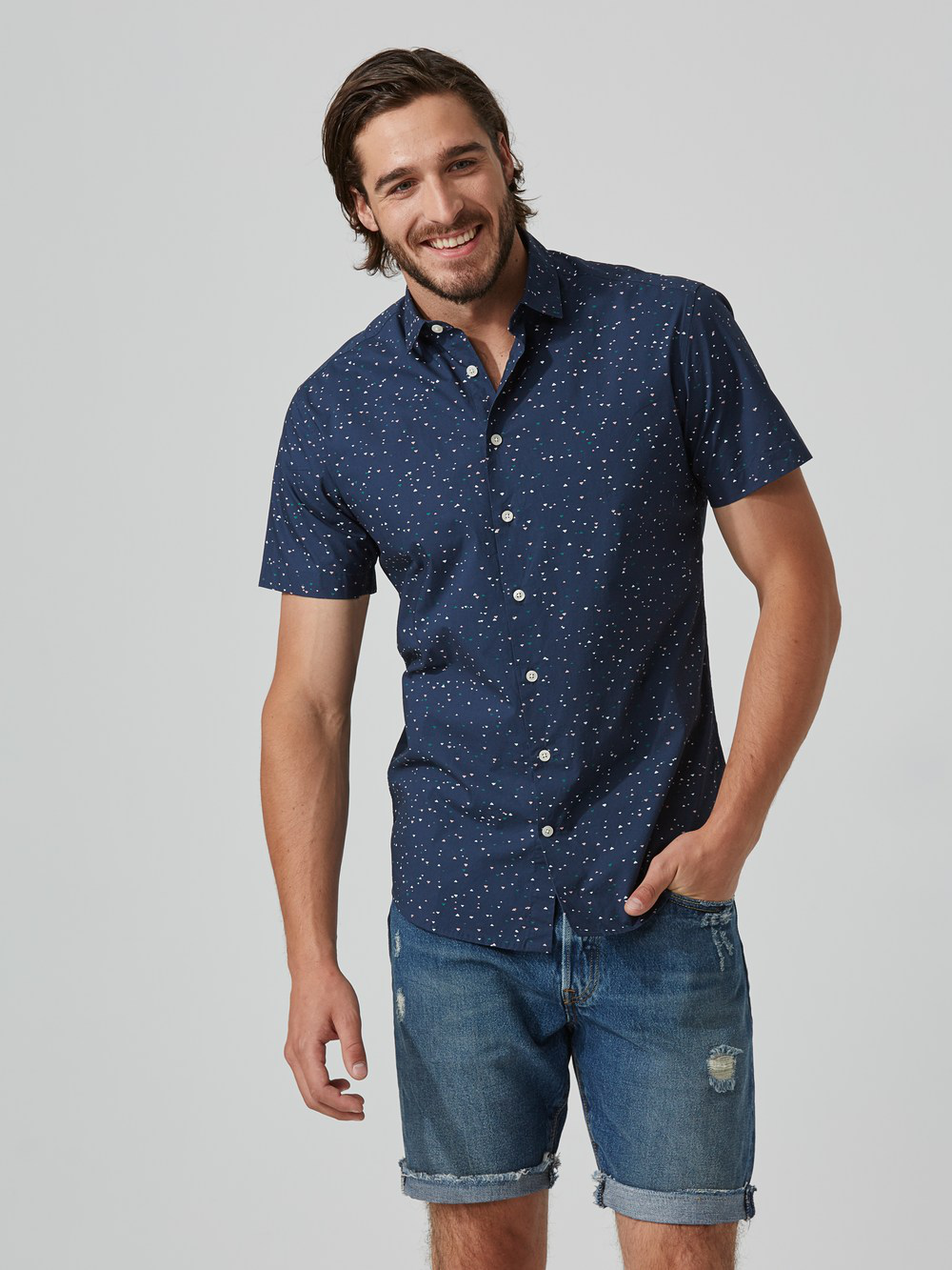 Frank + Oak Mini-triangle-print Poplin-cotton Shirt In Navy