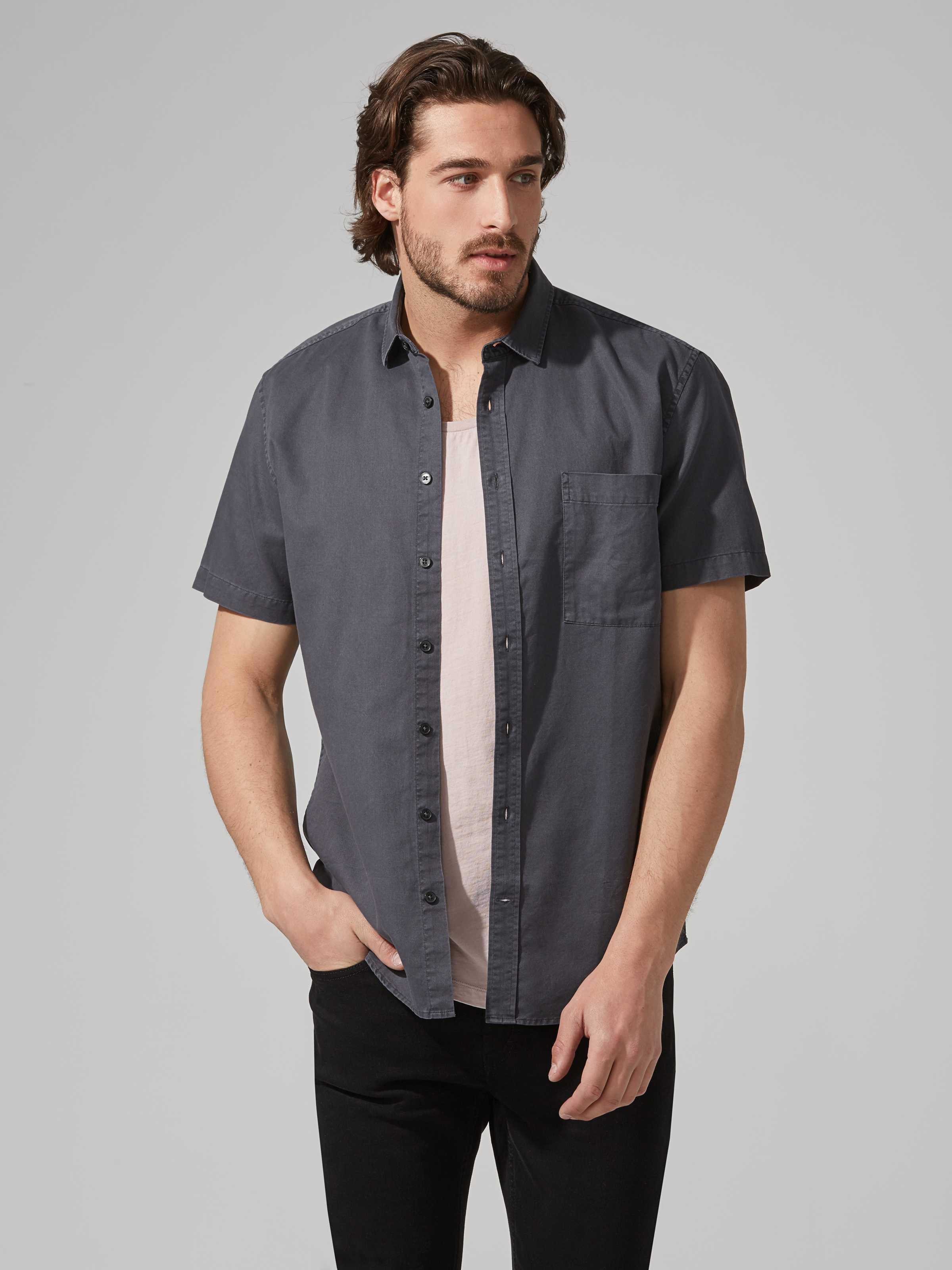Frank + Oak Supersoft Tencel-cotton Fluid Short-sleeve Shirt In Washed Black