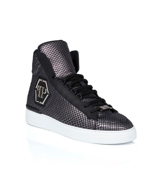"Philipp Plein Hi-top Sneakers ""skull Silver"""