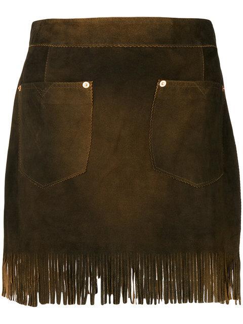 Diesel Fringed Mini Skirt In Brown