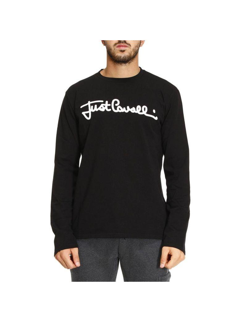 Just Cavalli Logo Embroidered Sweater In Black