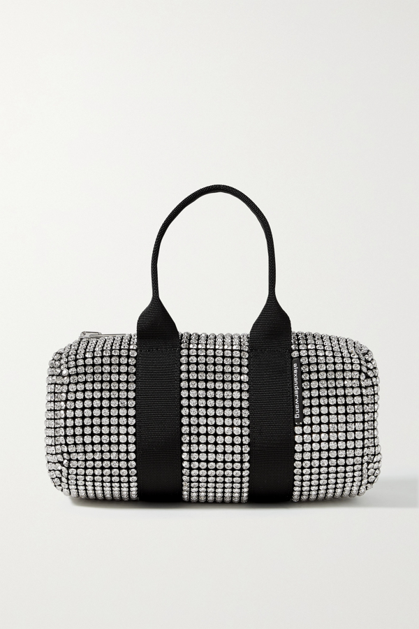 Alexander Wang Cruiser Mini Crystal-embellished Canvas Tote In White