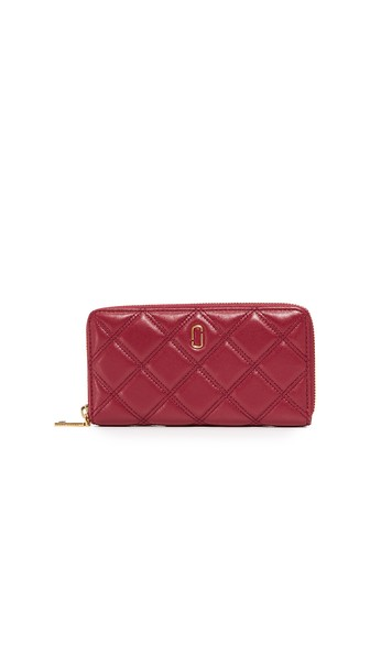 Marc Jacobs Double J Matelasse Standard Leather Continental Wallet In Cabernet