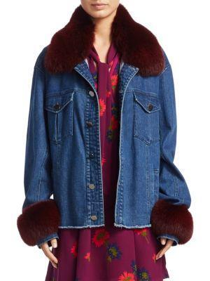 Tanya Taylor Jaxson Fox Fur And Denim Jacket In Indigo