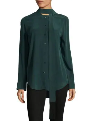 Equipment Essential Tie-neck Silk Blouse In Eden Green