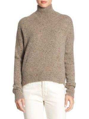 Vince Mock-neck Flecked Cashmere Sweater In Ash
