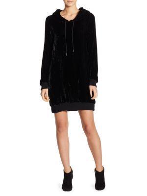 Alice And Olivia North Velvet Sweatshirt Dress In Black