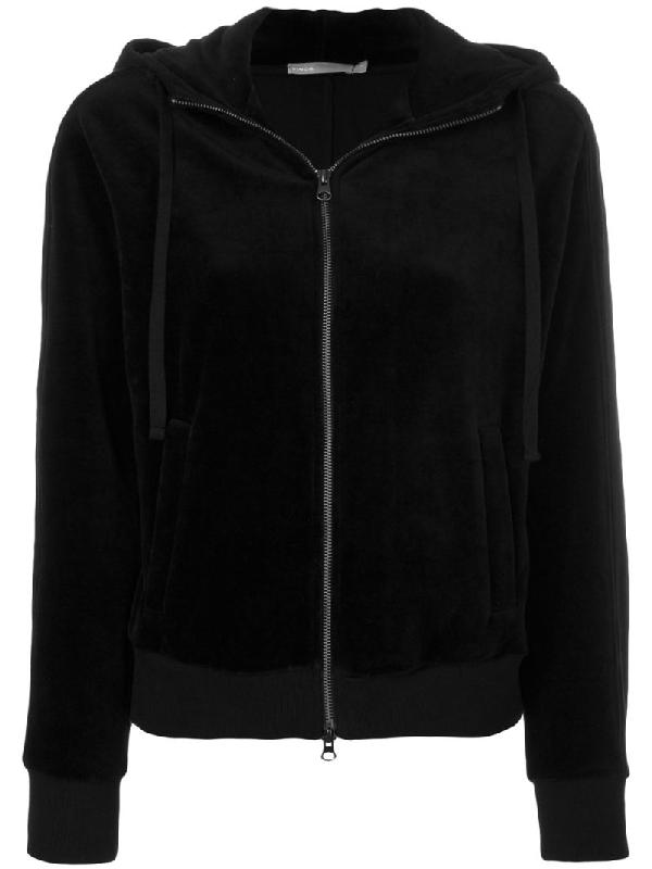 Vince Zip Up Hooded Jacket In Black