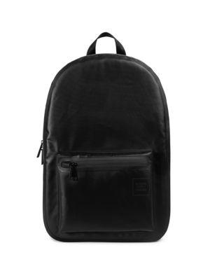 16d69b4badee Classic backpack enhanced by air mesh padded back panel. Top handle.  Seatbelt webbing adjustable shoulder straps with D-ring detail and die-cut  loop pulls