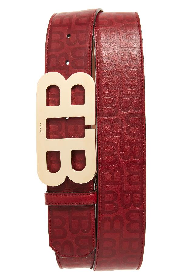 Bally Stamped Logo Leather Belt In Dark Red