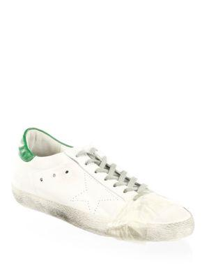Golden Goose Superstar Leather Low Top Sneakers In White Green