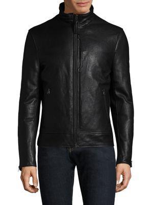 Mackage Leather Bomber Jacket In Black