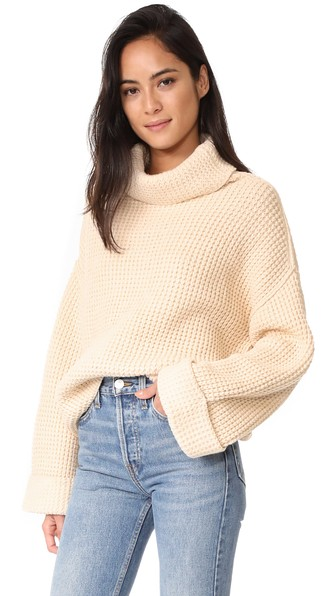 Free People Park City Pullover Sweater In Ivory