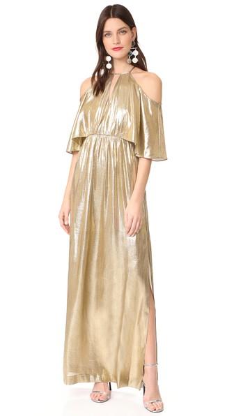 Rachel Zoe Marlene Open Shoulder Gown In Gold