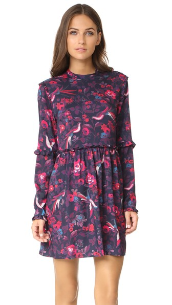 Tanya Taylor Floral Dyllan Dress In Navy/raspberry