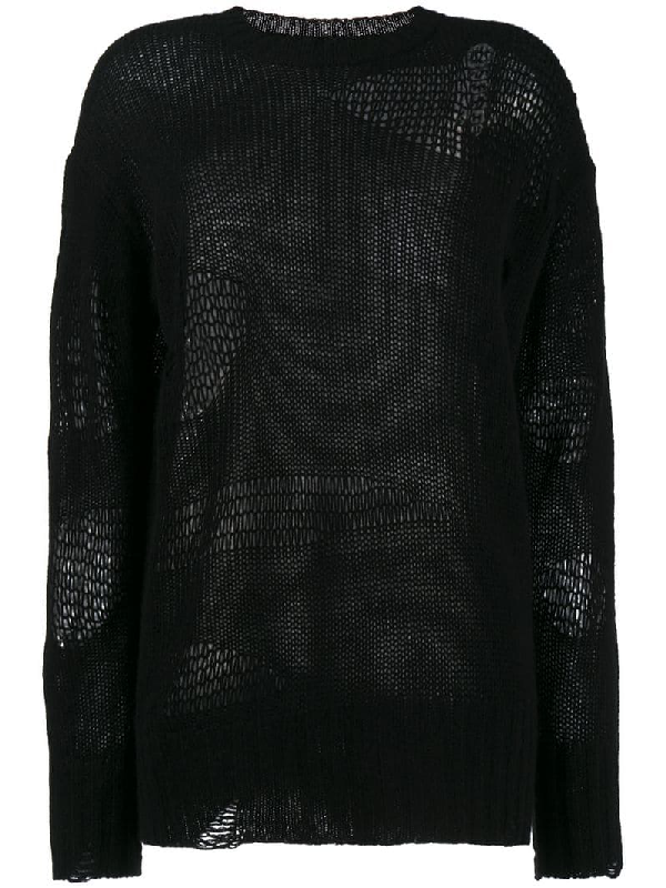 R13 Ripped Oversized Cashmere Sweater In Black