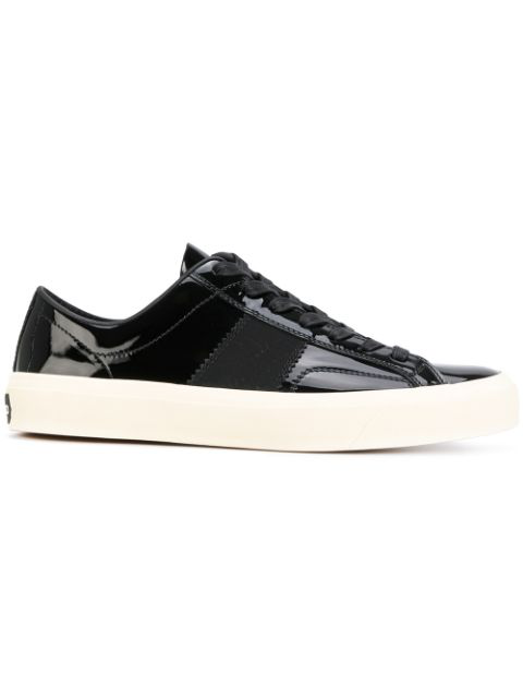 Tom Ford Patent Leather Cambridge Lace Up Sneakers In Black