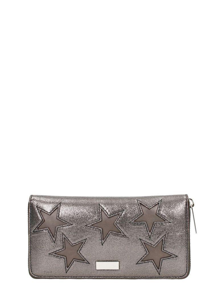 Stella Mccartney Star Patch Zipped Wallet In Silver