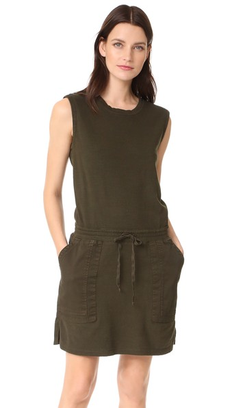 James Perse Contrast Sweatshirt Dress In Smoky Green