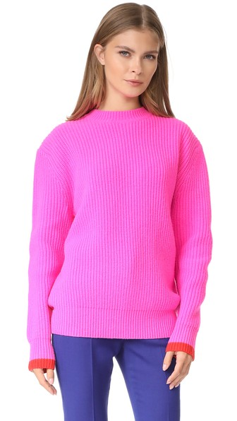 Victoria Victoria Beckham Oversized Lambswool Rib Knit Sweater In Neon Pink/postbox Red