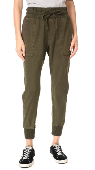 James Perse Contrast Joggers In Smoky Green