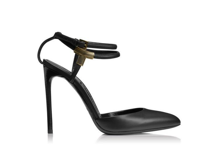 Tom Ford Leather T Bar Closed Toe Sandal In Black