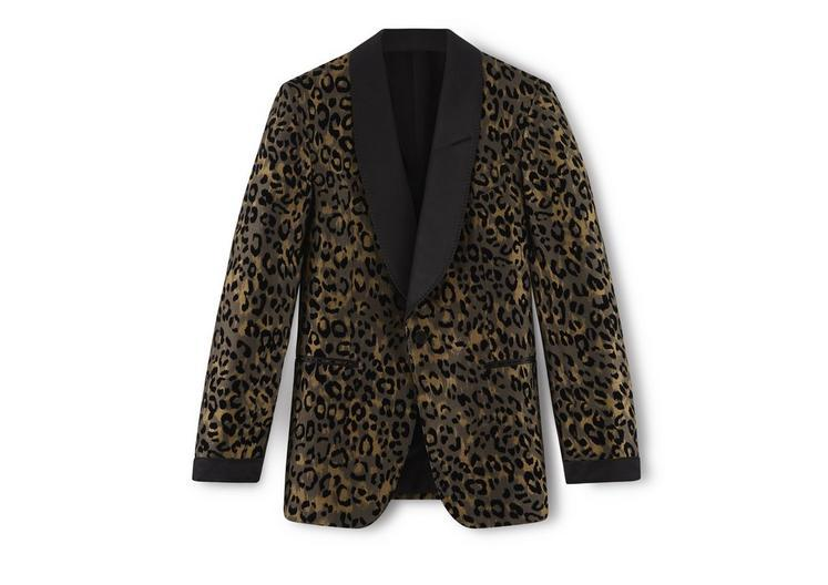 Tom Ford Brown Leopard Shelton Cocktail Jacket In Darkyellow