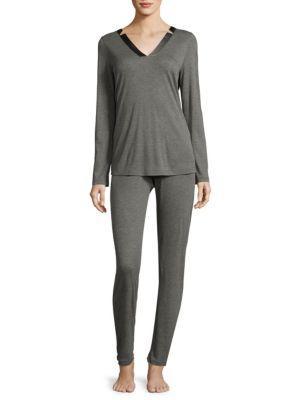 Hanro Ivy Long Sleeve Pajama Set In Stone Melange