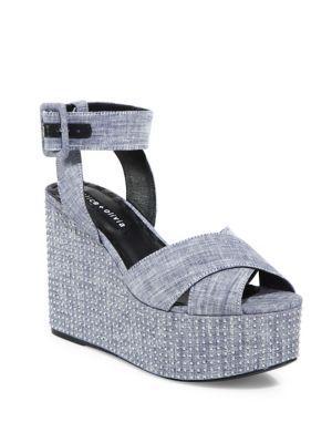 Alice And Olivia Violet Studded Platform Wedge Sandals In Navy