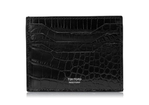 Tom Ford Credit Card Holder With Open Middle Pocket In Black