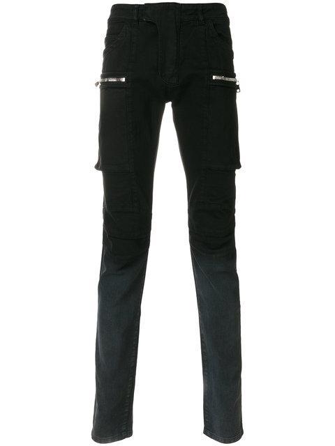 Balmain DÉgradÉ Biker Skinny Jeans In Gris 172