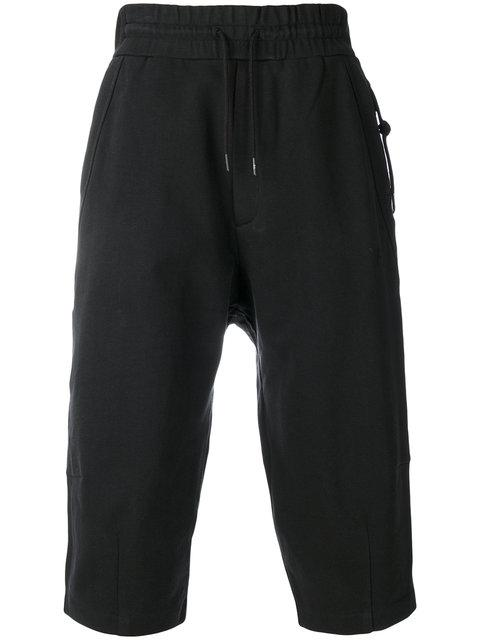 Y-3 Striped Cuffed Cropped Cotton Pants In Black