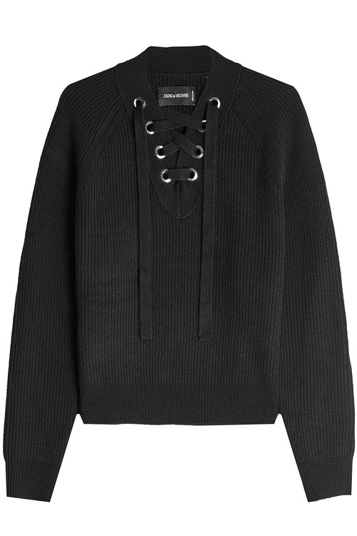 Zadig & Voltaire Wool Pullover With Lace-up Front In Black