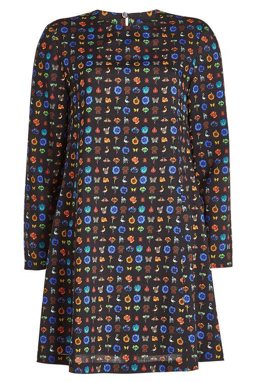 Etro Printed Wool Dress In Multicolored