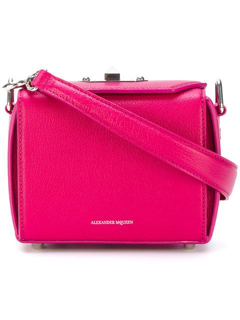 Alexander Mcqueen Pink Box 19 Leather Shoulder Bag In Pink&purple