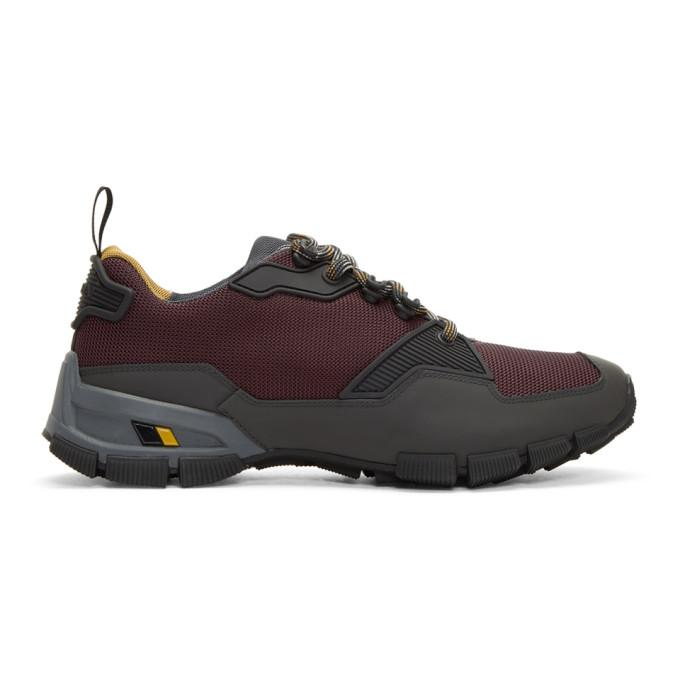 Prada Burgundy Leather And Mesh Crossection Sneakers In F0t3z Anthr