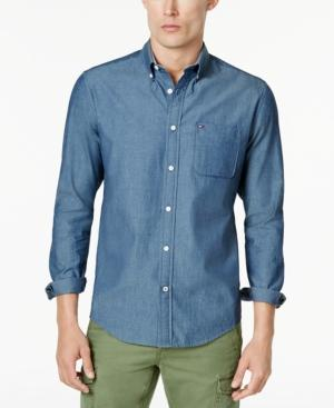 Tommy Hilfiger Men's Custom-Fit Chambray Button-Down Shirt, Created For Macy's In Dark Chambray