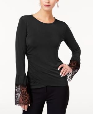 Kobi Halperin Kobi Lace-trim Top, Created For Macy's In Black