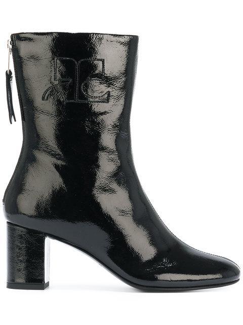 CourrÈges Black Vinyl Leather Logo Boots