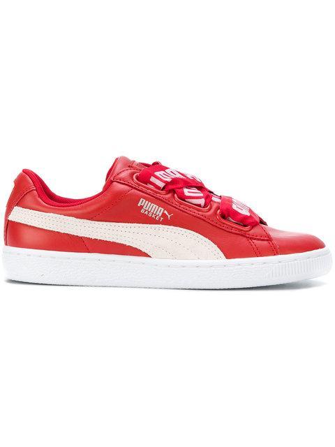 5b8287390cb852 Puma Women S Basket Heart De Casual Sneakers From Finish Line In Red ...