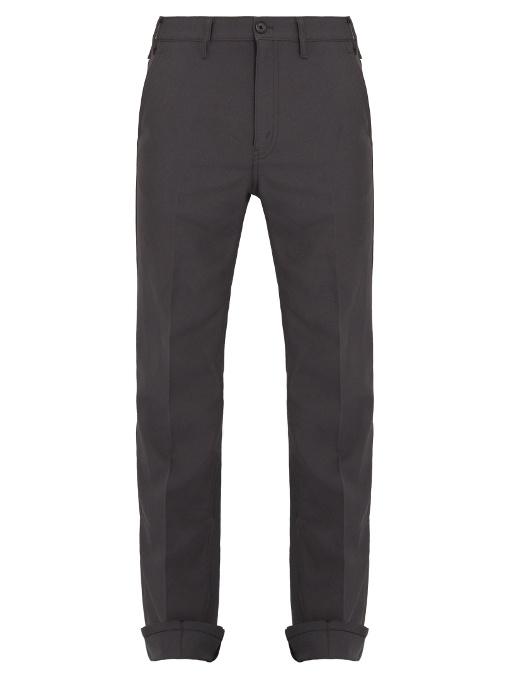 Prada - Mid Rise Tapered Leg Wool Trousers - Mens - Grey
