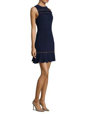 Michael Michael Kors Ruffle Flounce A-line Dress In True Navy