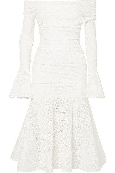 Caroline Constas Leda Off-the-shoulder Ruched Stretch-lace Midi Dress In White