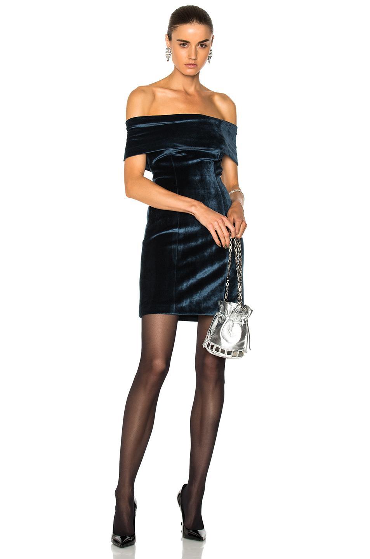 Galvan Off The Shoulder Velvet Cocktail Dress In Blue