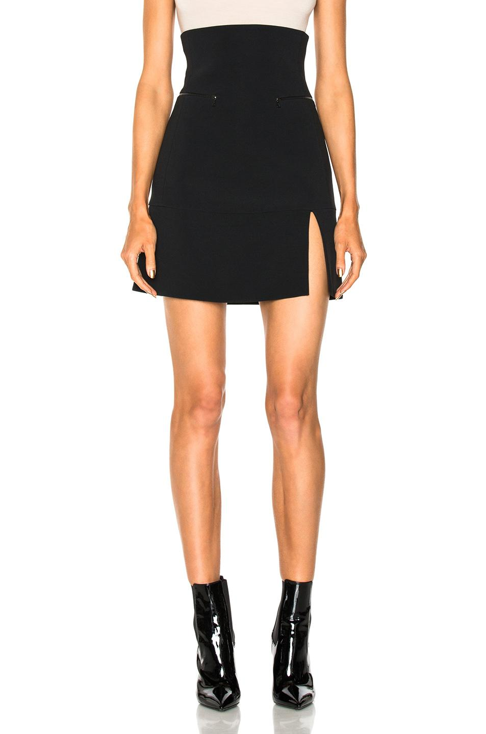 David Koma For Fwrd Zip Pocket Split Hem Skirt In Black