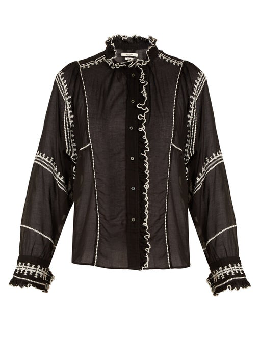 Etoile Isabel Marant Lauryn Ruffle-trimmed Embroidered Cotton Blouse In Black White